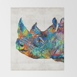 Rhino Rhinoceros Art - Looking Up - By Sharon Cummings Throw Blanket