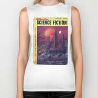 sci fi Biker Tanks featuring Retro 1951 Sci-Fi by InvaderDig