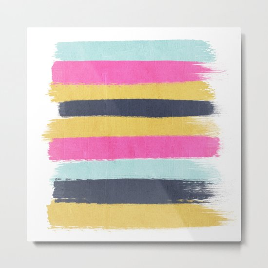 Sacha - stripes painting boho color palette bright happy dorm college abstract art Metal Print