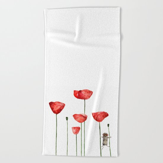 Mouse and poppies  Beach Towel