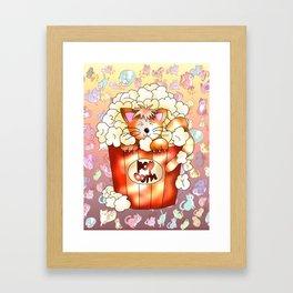 cute ginger cat in a popcorn pot Framed Art Print