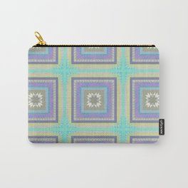 PLACID mint green and mauve squares pattern Carry-All Pouch