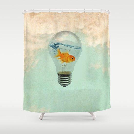 goldfish thinking Shower Curtain