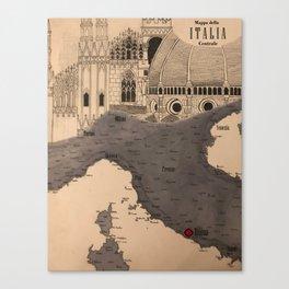 Mappa dell'Italia Centrale Canvas Print