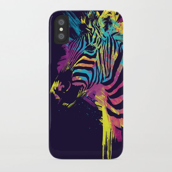 Zebra Splatters Colorful Animals iPhone Case