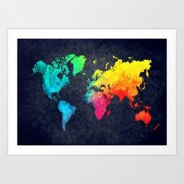 World map watercolor 6 Art Print