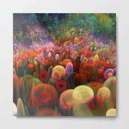 Dreamscape with poppies and orbs Metal Print