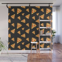 Cool and fun pizza slices pattern Wall Mural