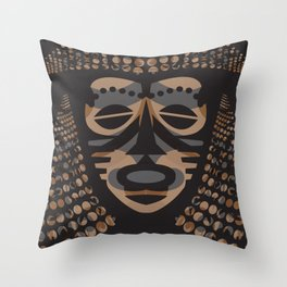 African Tribal Mask No. 1 Throw Pillow