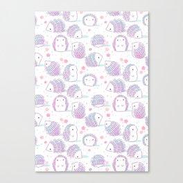 Spring Hedgehog Pattern Canvas Print