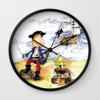 pirate Wall Clocks featuring Pirate by LolMalone