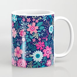 Amazing floral pattern with bright colorful flowerson a dark blue background Coffee Mug