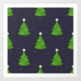 Green Christmas Tree Pattern Art Print