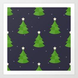 Green Christmas Tree Pattern Art Print