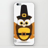 thanksgiving iPhone & iPod Skins featuring Owl Thanksgiving by Yatasi