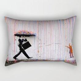 Banksy Umbrella Rainbow Happy Rectangular Pillow