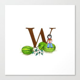 w is for watermelon Canvas Print
