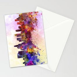 Los Angeles skyline in watercolor background Stationery Cards