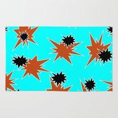 Stars (Orange & Black on Blue) Rug