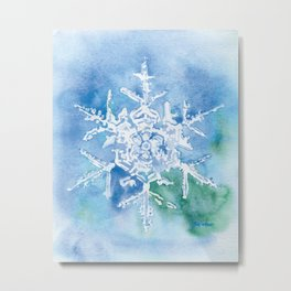 Snowflake Watercolor Metal Print