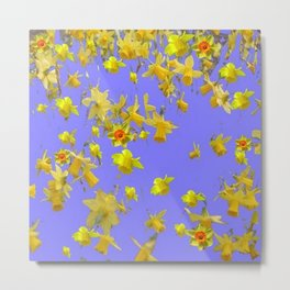 Yellow Daffodils Jonquils Narciscus Flowers Lilac Art Metal Print