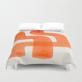Mid Century Modern Abstract Minimalist Abstract Vintage Retro Orange Watercolor Brush Strokes Duvet Cover