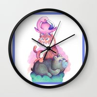 totem Wall Clocks featuring Totem by Anna Cannuzz