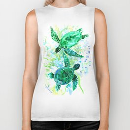 Sea Turtles Underwater Scene Turquoise Blue design, bright blue green design Biker Tank