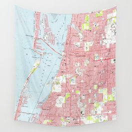 Vintage Map of Clearwater Florida (1974) Wall Tapestry