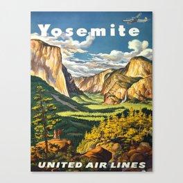 Yosemite National Park Travel Vintage Canvas Print