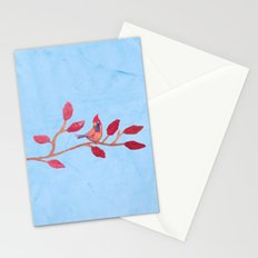 Red bird on a branch Stationery Cards