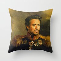 robert farkas Throw Pillows featuring Robert Downey Jr. - replaceface by replaceface