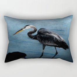 Great Blue On The Rocks Rectangular Pillow