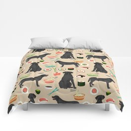 black lab sushi dog breed pet portrait gifts for labrador retriever lovers Comforters