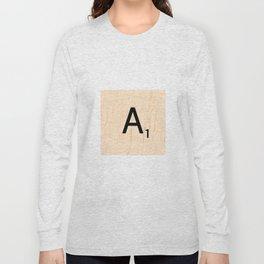 Letter A Scrabble Art Long Sleeve T-shirt