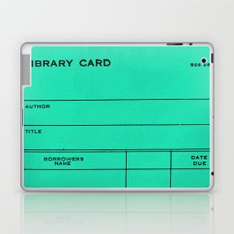 Library Card BSS 28 Turquoise Laptop & iPad Skin
