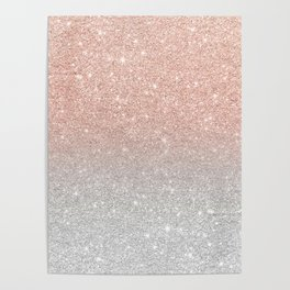 Modern trendy rose gold glitter ombre silver glitter Poster