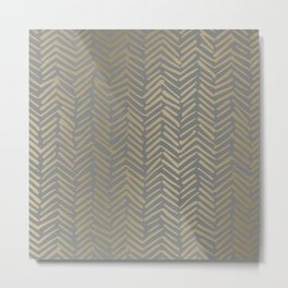 Herringbone, Boho, Mudcloth Pattern, Grey and Gold Metal Print