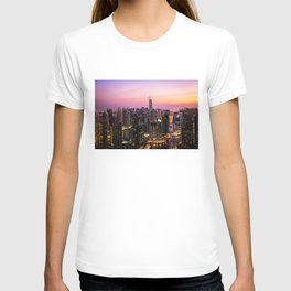 Skyline Jumeirah Lake Towers, Dubai, United Arab Emirates at Dusk T-shirt