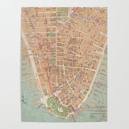 Vintage Map of Lower Manhattan (1921) Poster