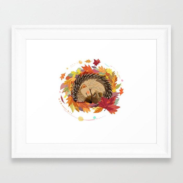 Hedgehog in Autumn Leaves Framed Art Print