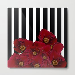 Poppy Stripes - Red Metal Print