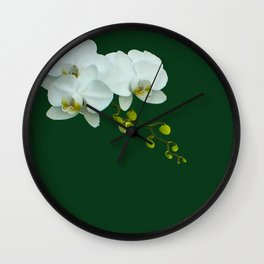 Orchids on the Green Wall Clock