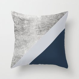 Modern minimalist navy blue grey and silver foil geometric color block Throw Pillow
