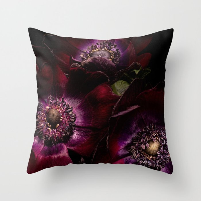 Blood Red Anemones Throw Pillow