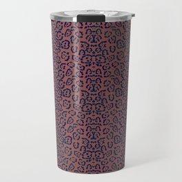 Coffee Brown and Purple Cheetah Cat Animal Print Pattern Travel Mug