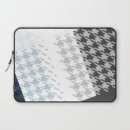 Modern Houndstooth Reinterpreted A – Navy / Gray / White Checked Pattern Laptop Sleeve