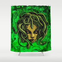 medusa Shower Curtains featuring Medusa by Spooky Dooky