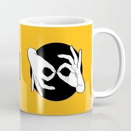 Sign Language (ASL) Interpreter – White on Black 09 Coffee Mug