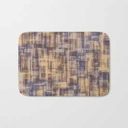 psychedelic geometric square pattern abstract in brown and blue Bath Mat